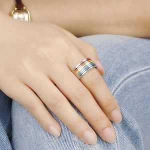 Stainless Steel Wide Unisex Rainbow Pride Ring S 7